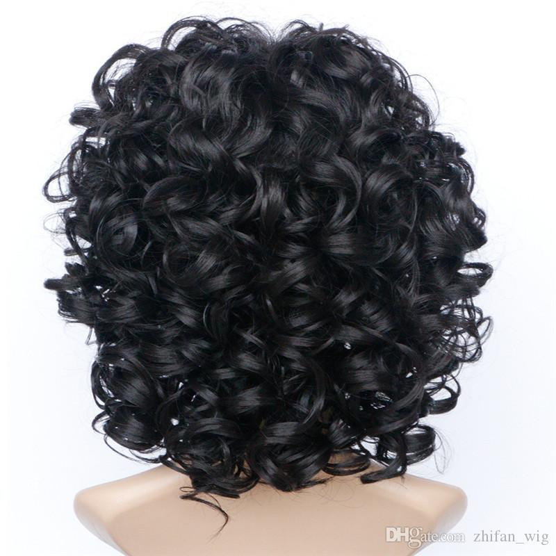 Z&F Curly Wigs USA Black Color For White Woman 16inch Natural Wigs For Sale Black Women With Rose Hairnet