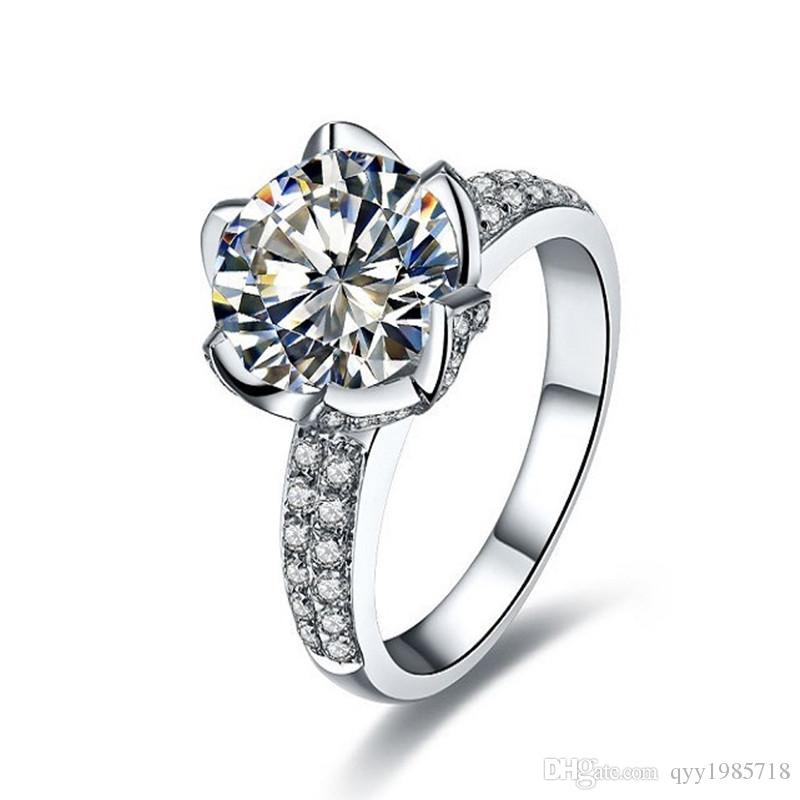 2018 1ct new design lotus flower bridal engagement ring synthetic
