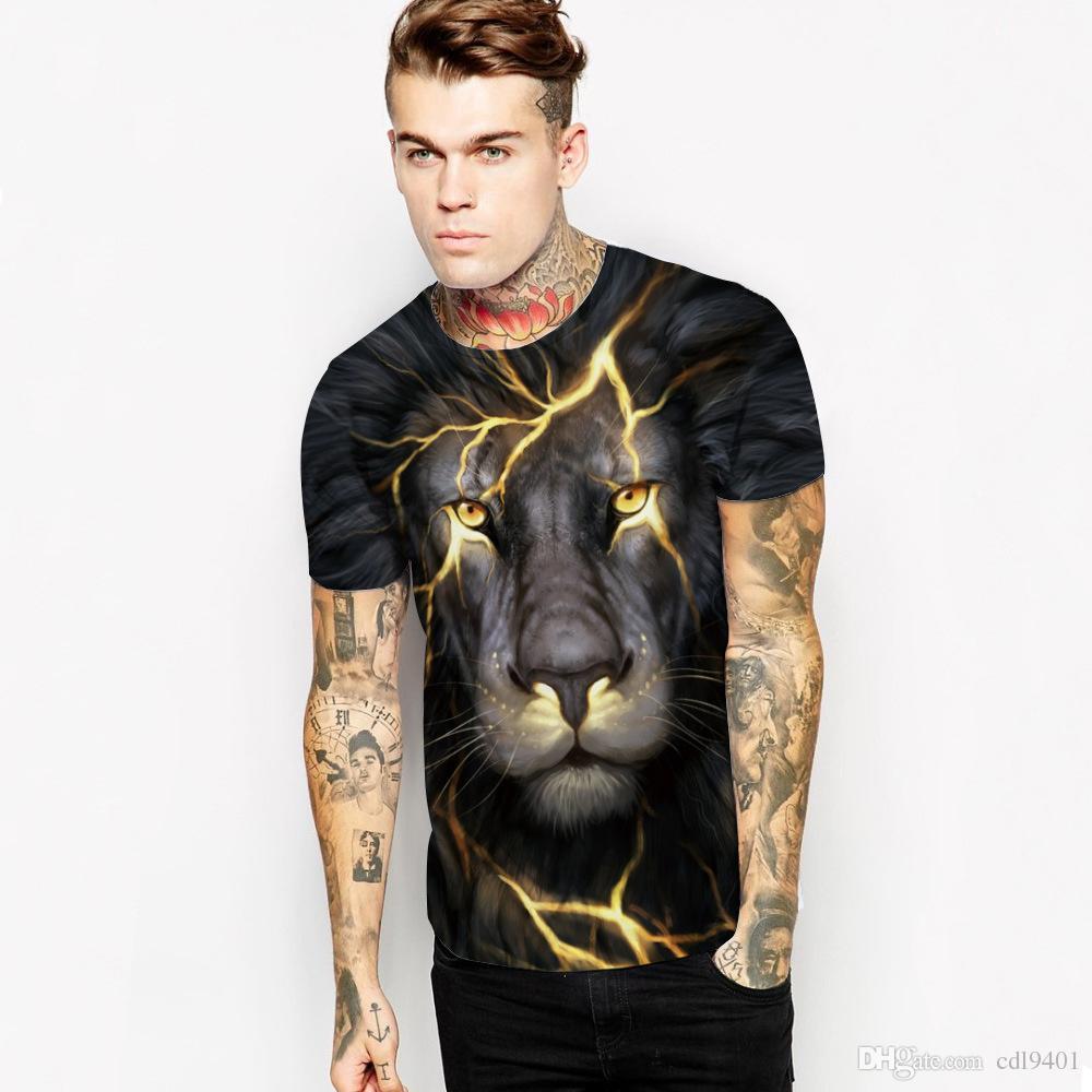 Explosion Lightning Lion Digital Print T-Shirt Fashion Short Sleeve Sports Top Men's Short T