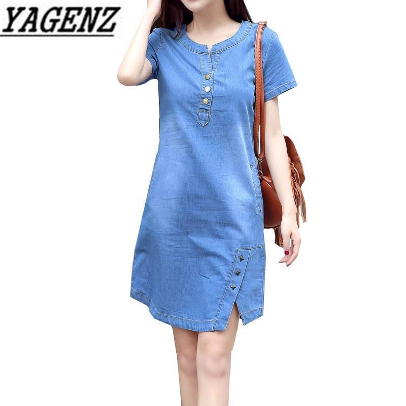 2a1701c96dc62 Korean Denim Dress For Women 2018 New Summer Casual Jeans Dress With Button  Pocket Sexy Denim Mini Dress Plus Size 3XL A1425 D1891304 Celebrity Dresses  ...