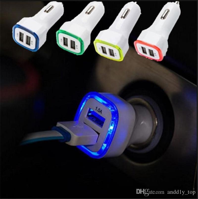 LED المزدوج الناقل التسلسلي العام شاحن سيارة سيارة محمول محول الطاقة 5V 1A لسامسونج S8 ملاحظة 8