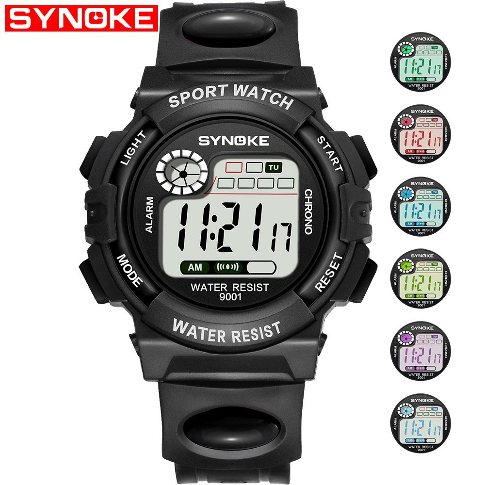 Synoke Childrens Boys Girls Watches Round Plastic Band Strap Digital Clock Watches Multifunction Waterproof Sports Electronic Watches