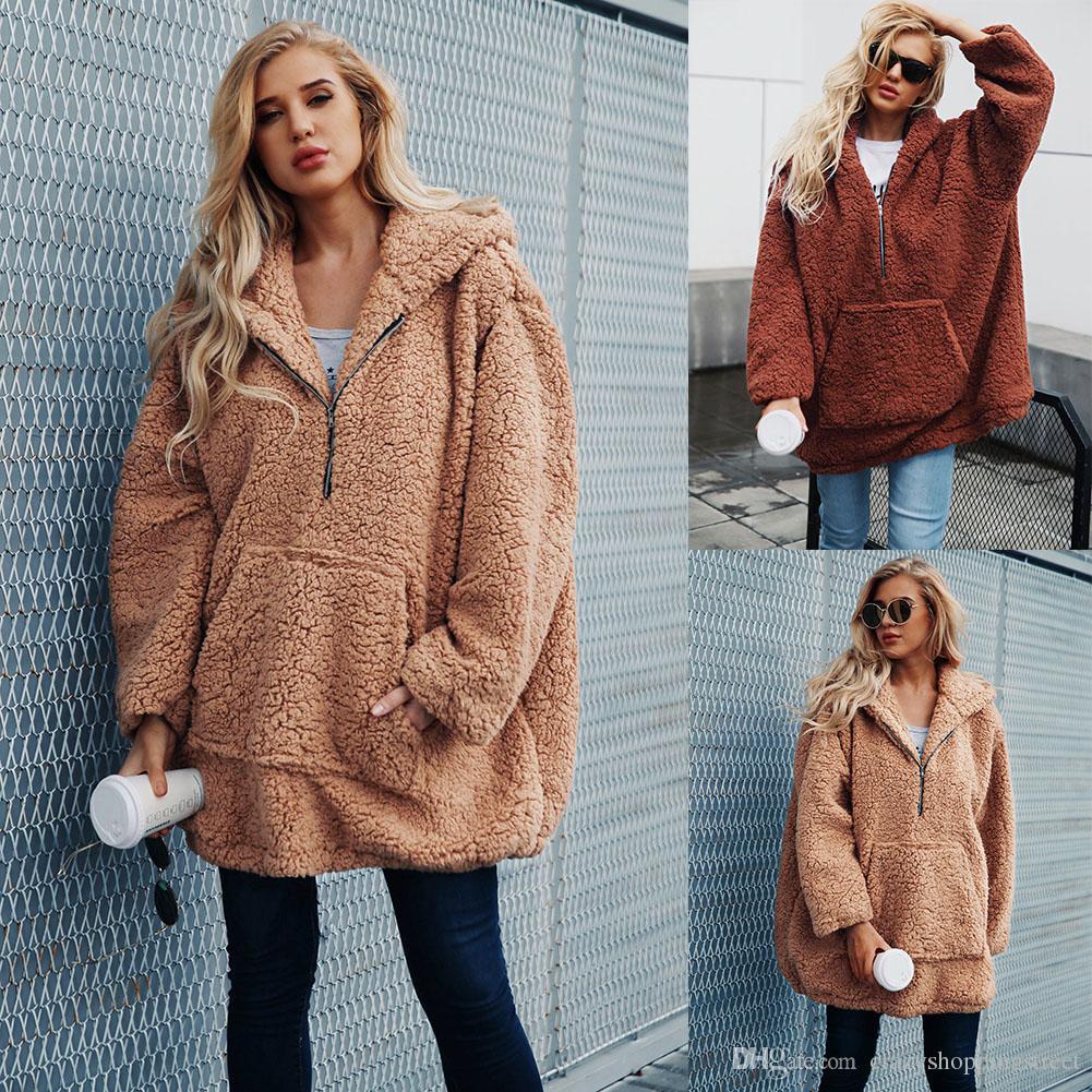 e5ed6fdbfef 2019 Women Winter Faux Fur Jacket Coat Casual Imitated Wool Sweatshirt  Fleece Pullovers Winter Autumn Thick Warm Hooded Outwear Female Tops Mujer  From ...