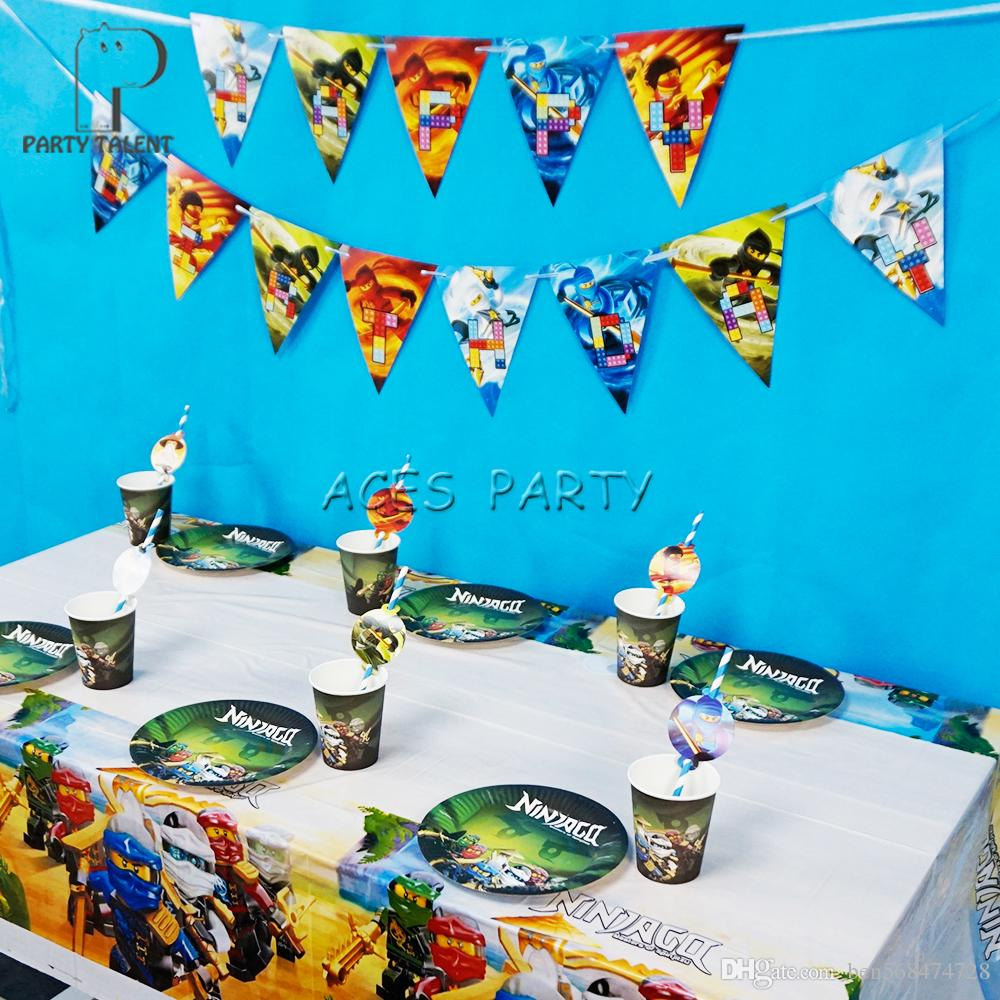 Ninjago Theme Party Decorations For 12 Kids Birthday Supplies Plates Cups Straws Banner Tablecloth Decoration Items Online