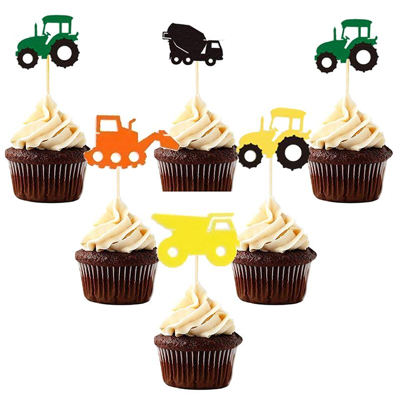 2019 Tractor Cars Paper Cupcake Toppers Cake Picks Party Supplies Favors Baby Shower Souvenirs Birthday Decoration Kids From Jiguan 3377