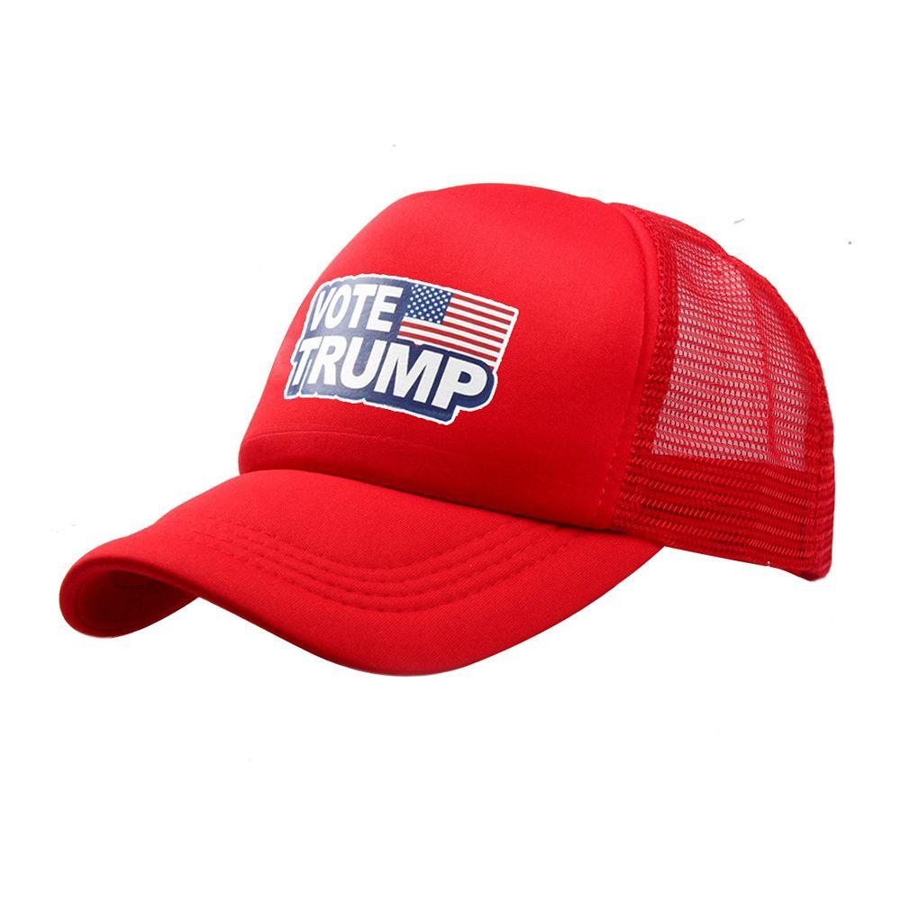 Compre Bonés De Beisebol Donald Trump Vote Logotipo Trump Bandeira  Americana Chapéus De Malha Ajustável Sólida Snapback Para Homens Mulheres  Verão Trucker ... 50d79043e84