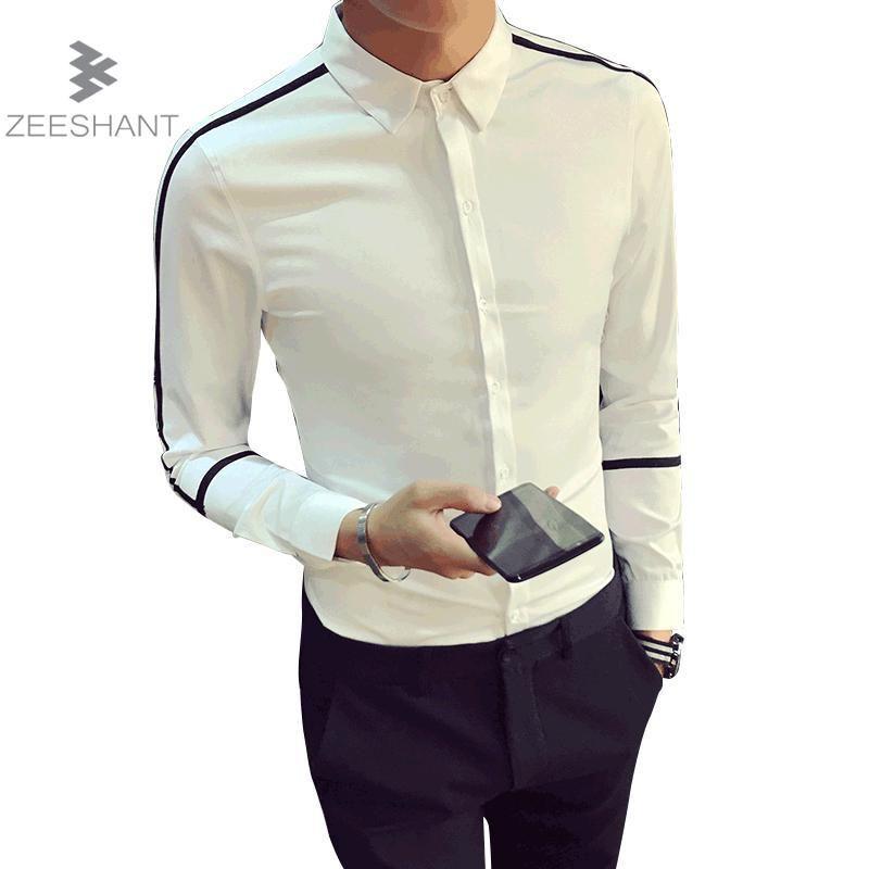 1082293d6e Compre Camisa De Los Hombres 2018 Spring New Brand Business Men Slim Fit  Camisa De Vestir Hombre Manga Larga Casual Camisa Masculina Talla M XXL A   34.59 ...