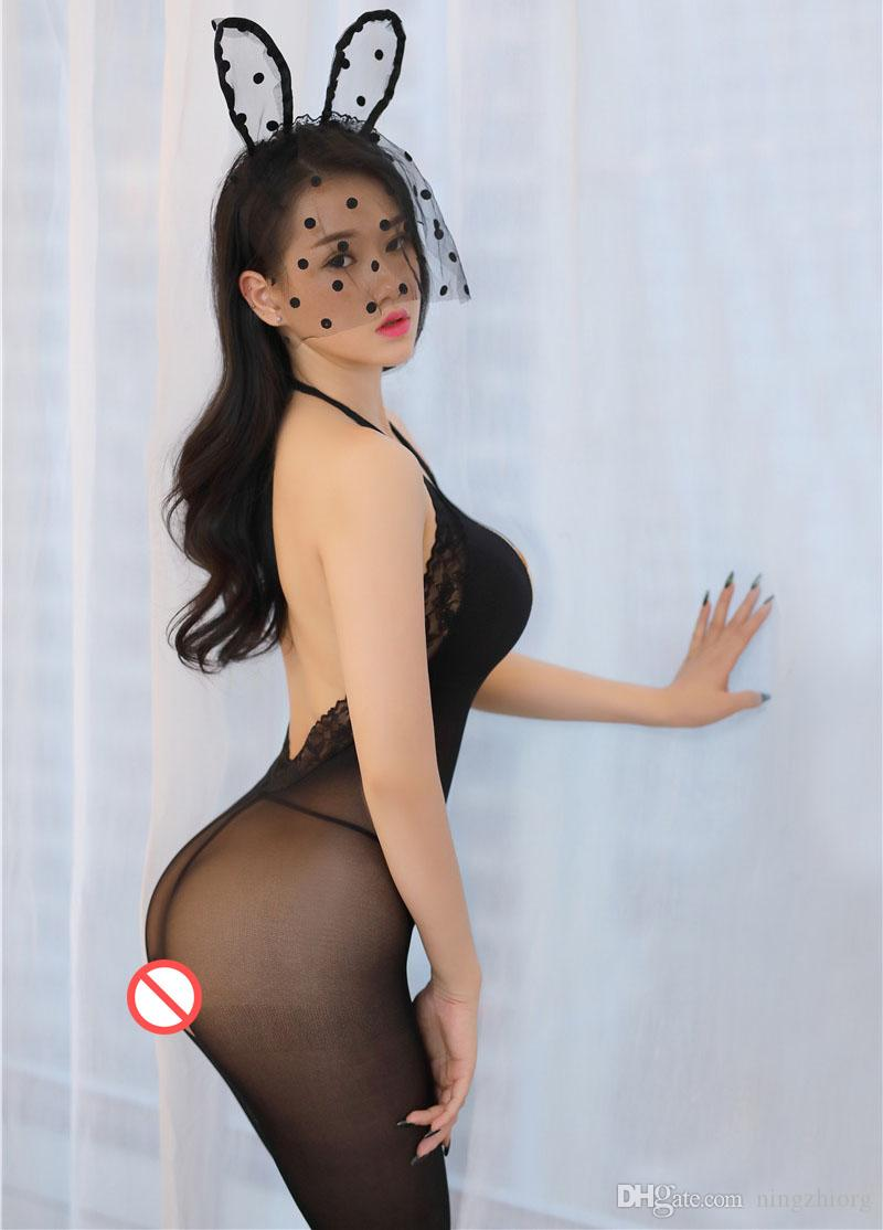 Sexy Lingerie Hot Lingerie Set Adult Supplies Sexy Underwear Jumpsuit Opening Conjoined Stockings Hanging Neck Tights Pantyhose