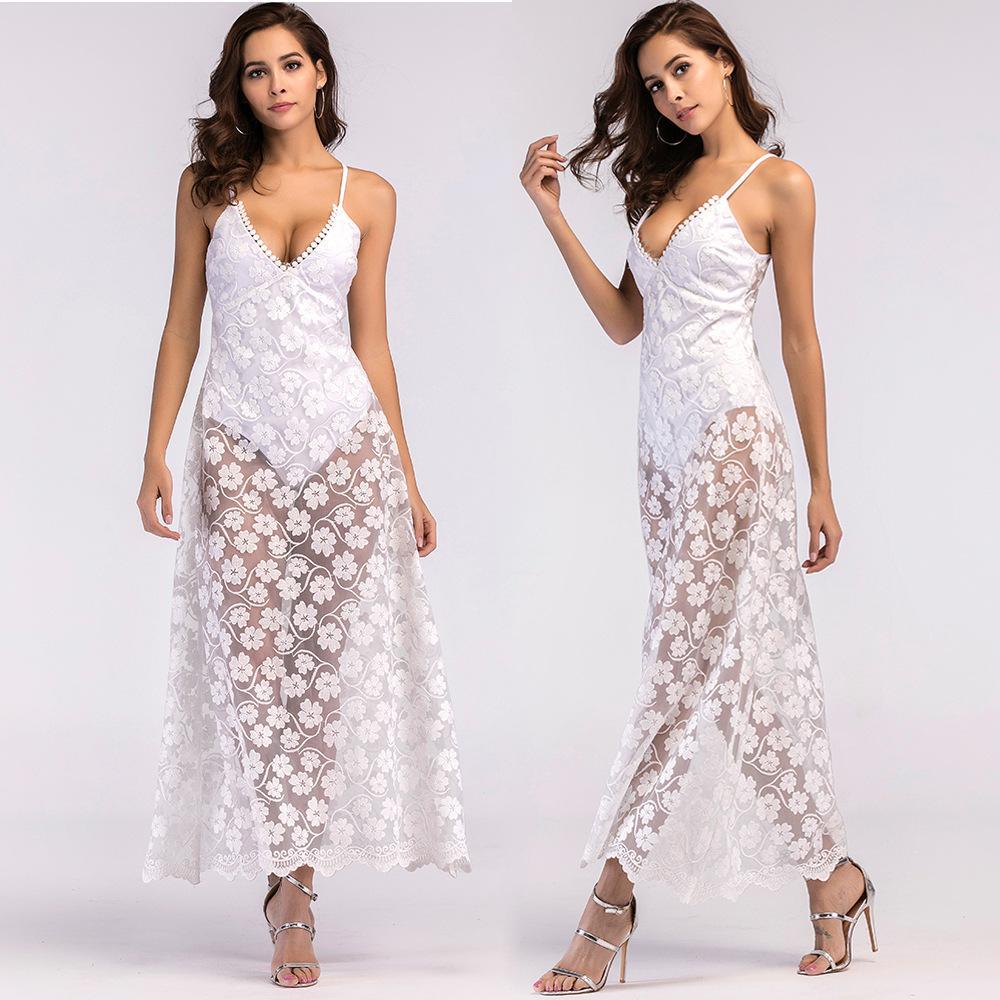 7d0eff20fe51 S 2XL V Neck Empire Strap Sleeveless Lace Dress Women Holiday Beach Summer  Dress Elegant Casual Leisure Maxi Dress Plus Size UK 2019 From  Tumangui8185