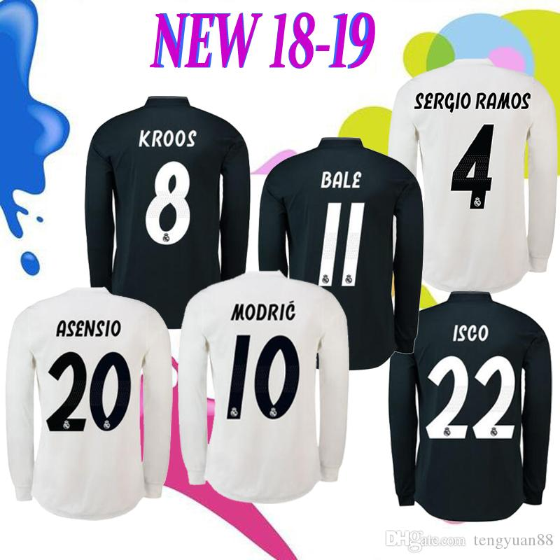 9674bbec786 2018 Real Madrid Home Away Long Sleeve Jersey 2019 ASENSIO Soccer ...