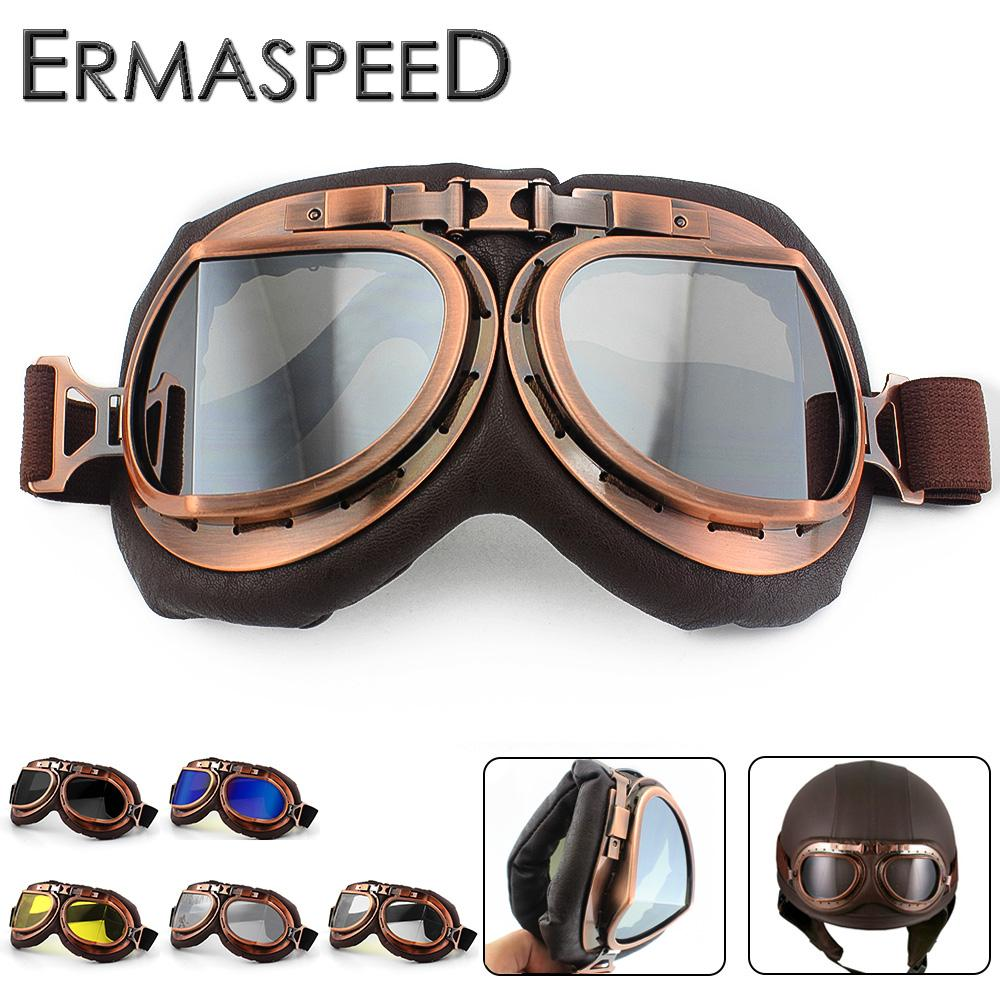 c40e175217 Vintage Motorcycle Helmet Goggles Pilot Aviator PU Leather Riding Eye Wear  Copper For Harley Cruiser Chopper Cafe Racer Triumph Best Glasses For  Motorcycle ...