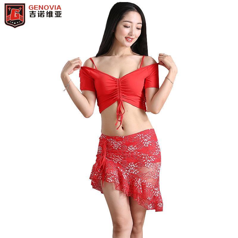 0c8b24327bd8 Women Belly Dance Practise Wear Blouse Top + Lace Skirt + Botton ...