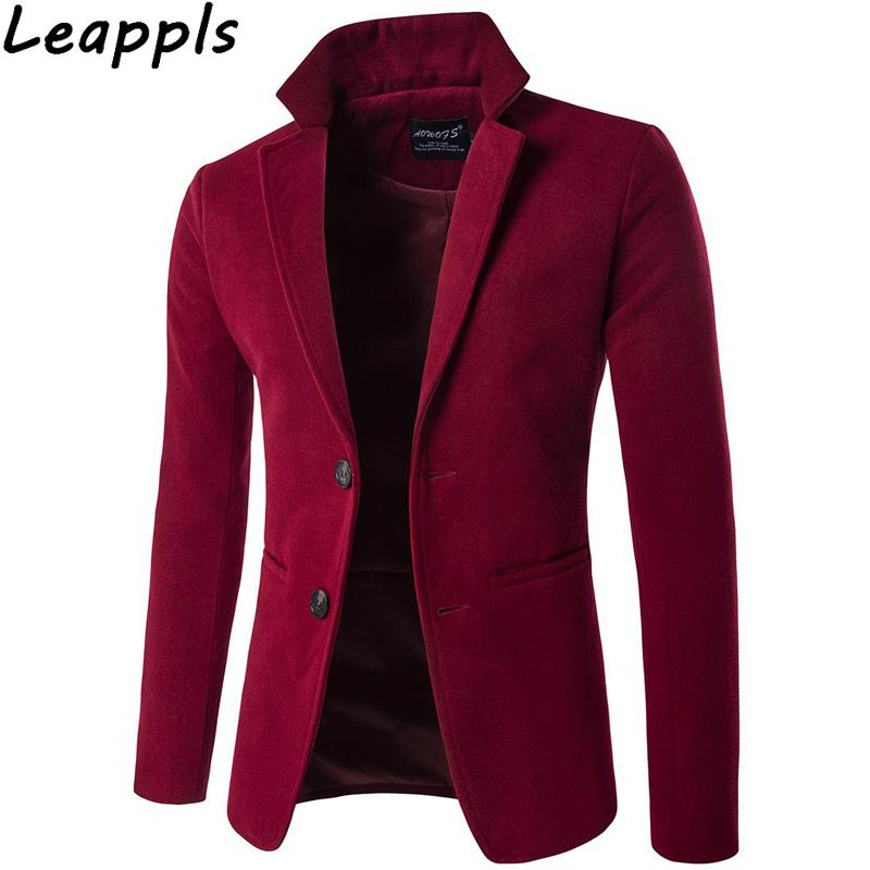 c158d32b1a53 Leappls Wool Blazers Men Fashion Smart Casual Standing Collar Men ...