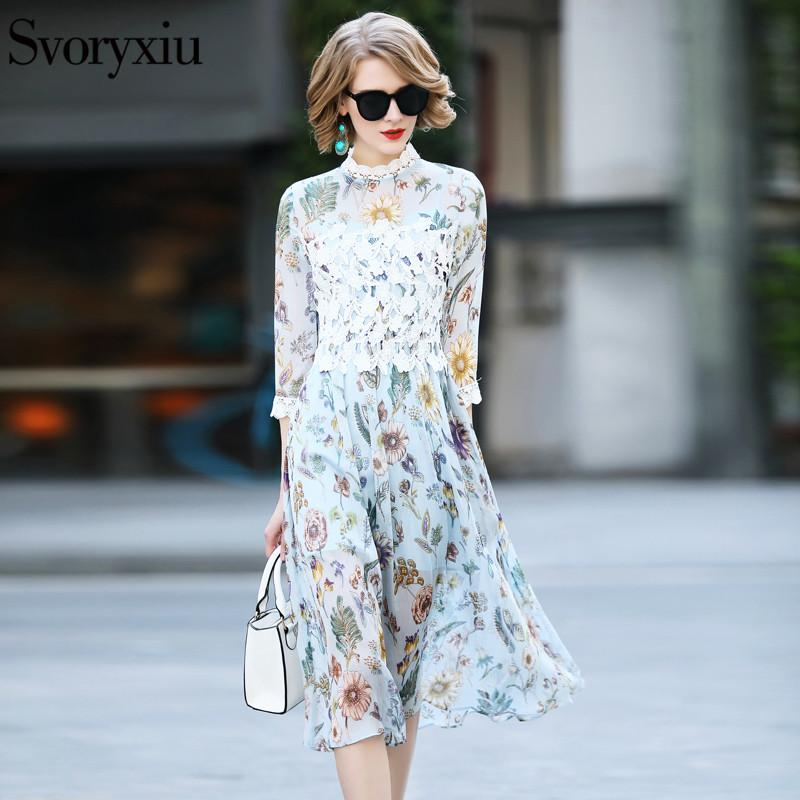 cd0879e069b 2019 Svoryxiu 2018 Women S Summer Beach Vacation Dress 3 4 Sleeve Hollow  Out Embroidery Print Designer Brand Female Dresses From Dalivid