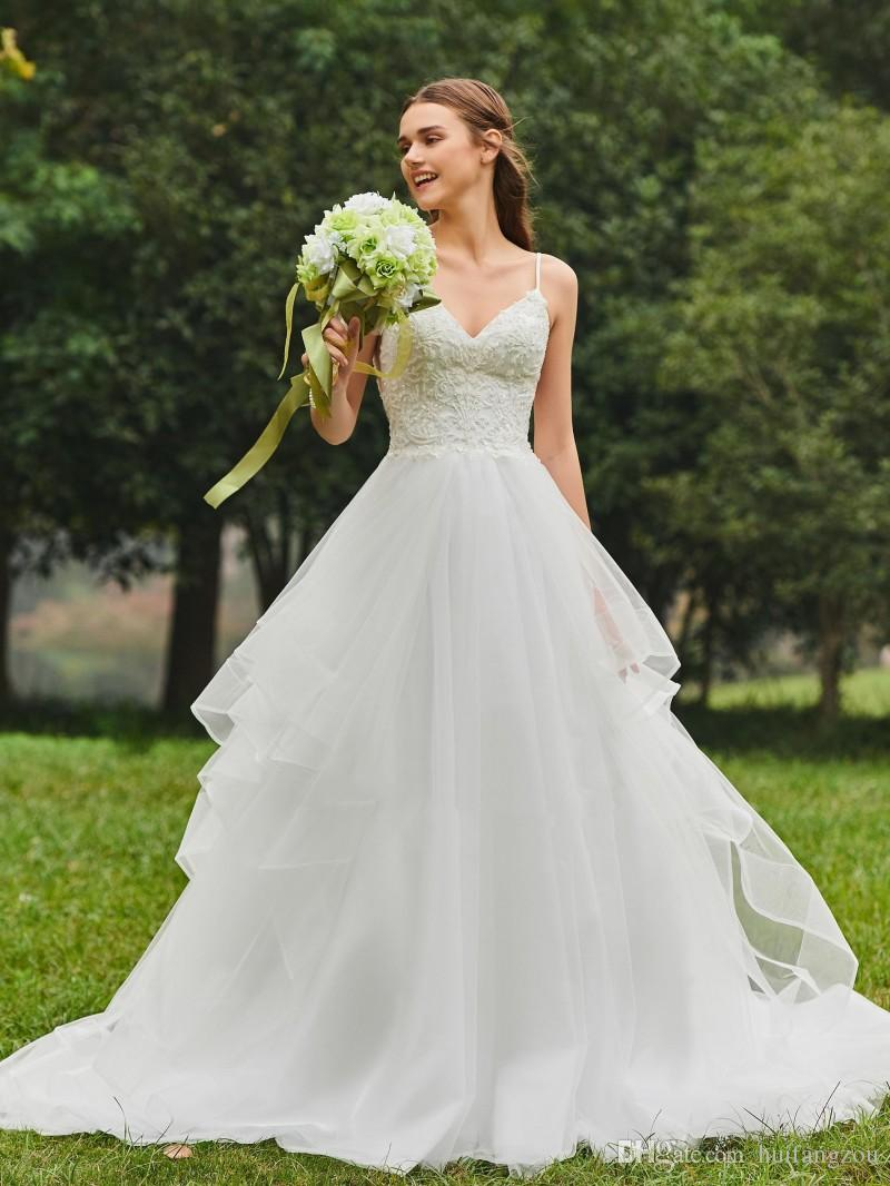 2018 Princess Style Wedding Dresses Sexy Spaghetti Applique Beaded Bridal Gowns Shining Sequins Sweep Train Wedding Dress