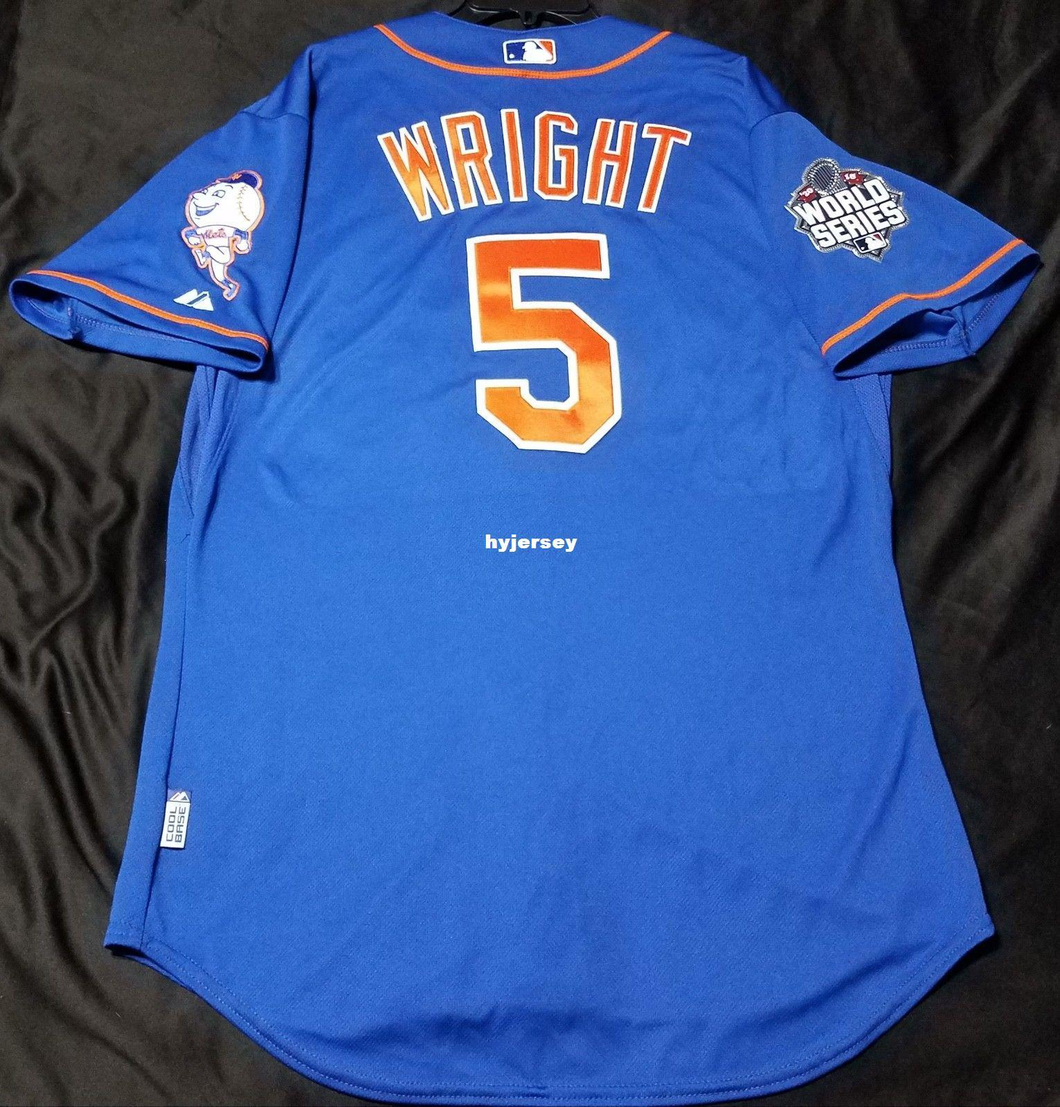 quality design 8821e eae38 Majestic Cheap NEW YORK #5 DAVID WRIGHT BLUE COOL BASE Jersey Mens Young  Women Stitched Wholesale SIZE S-5XL baseball jerseys