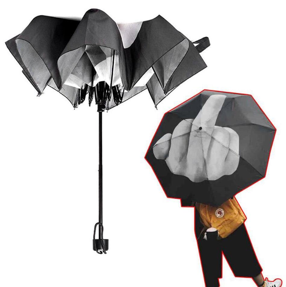 الاصبع الوسطى مظلة المطر يندبروف مظلة لك مظلة الإبداعية للطي مظلة الأزياء تأثير مظلة سوداء OOA4505