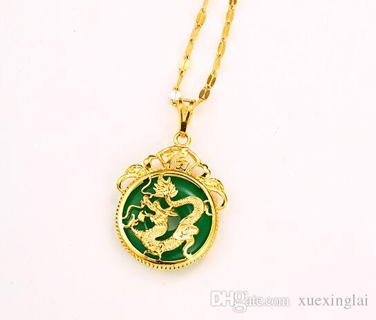 Wholesale new arrival top quality gold plated dragon pendant wholesale new arrival top quality gold plated dragon pendant necklace for women inlaid with jade diamond pendants single diamond pendant necklace from aloadofball Choice Image