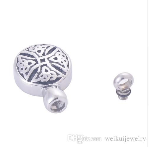 Wholesale custom memorial pet bone ash box round perfume bottle pendant engraved urn funeral cremation necklace fashion jewelry