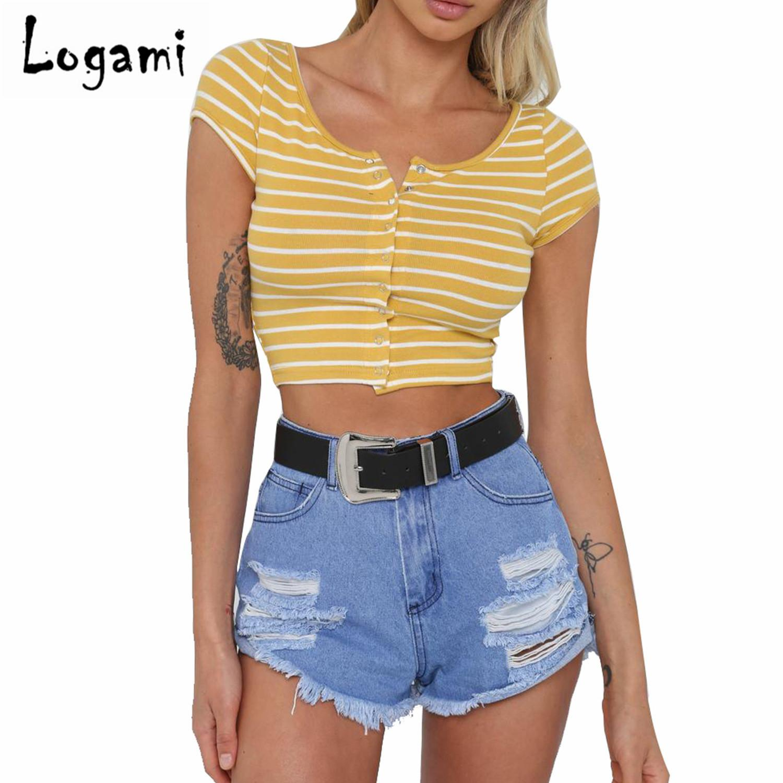 031dd6dbeb2d3e Großhandel LOGAMI Kurzarm Gestreiftes Crop Top T Shirt Sexy Sommer T Shirt  Frauen Casual Tops Rot Gelb Von Boniee
