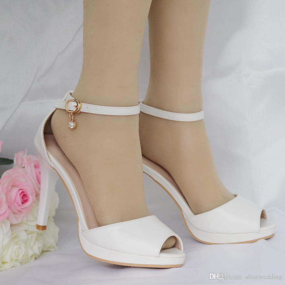 64b1c79ab01fd New Fashionl Simple Style Peep Toe Shoes for Women Heels White Word ...