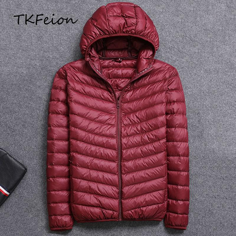 2d8c8347b25d7 Spring Autumn Mens Hooded Jacket Fashion Lightweight Portable With Hat Plus  Size 4XL 5XL Male Duck Down Slim Coat Clearance Sale D18101106 Jean Jacket  Cbj ...