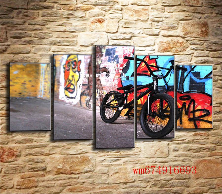 Satın Al Soyut Bisiklet 5 Parça Ev Dekorasyonu Hd Baskılı Tuval