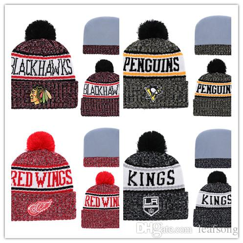 e8eb2f892ab2e New Beanies Hats for Men Knitted NHL Wool Hat Gorro Bonnet with San ...