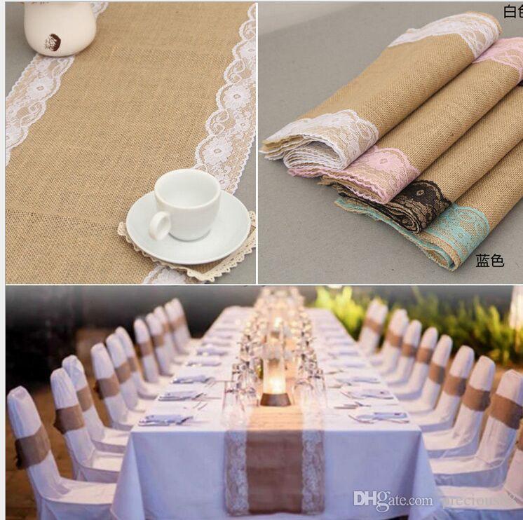 Stock Burlap Lace Pink Table Flag Chair Yarn European Wedding Table