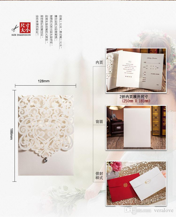 Elegant Laser Cut Hollow Flower Wedding Invitations Cards with Crystal 2017 High Quality personalized Bridal Invitation Card Cheap