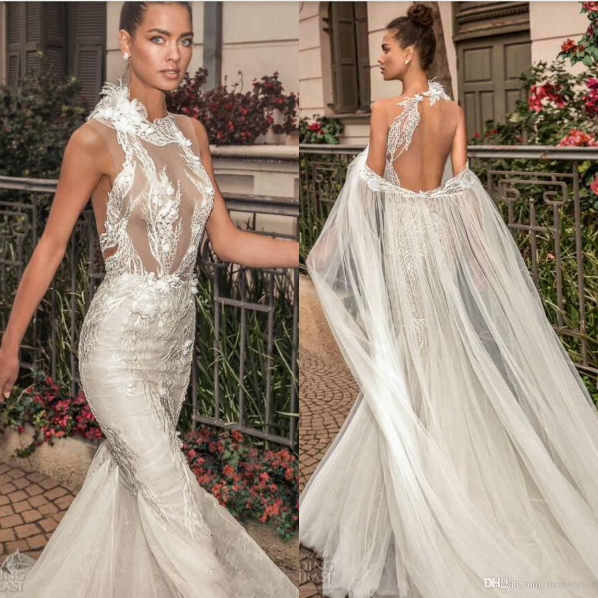 Elihav Sasson 2019 Mermaid Wedding Dresses With Cape Lace Appliques Illusion Backless Beach Bridal Gowns Plus Size Wedding Dress
