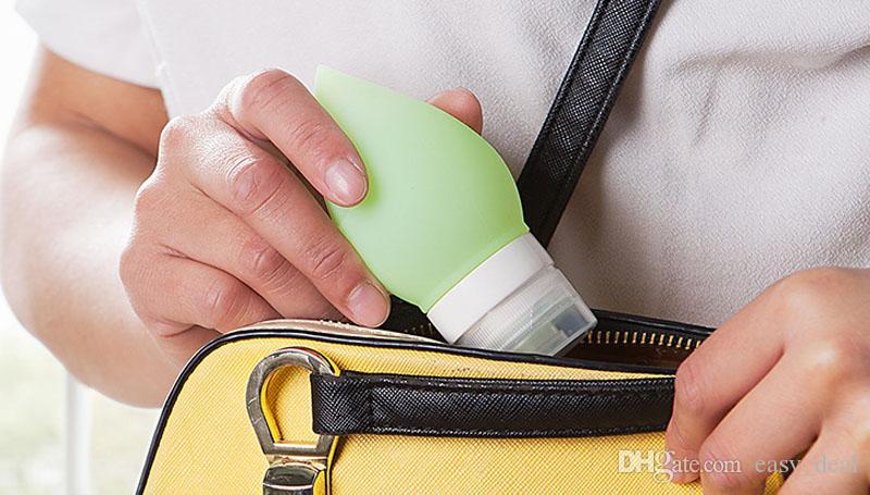 75 ml Botellas recargables de silicona Forma de gota de agua Champú Gel de ducha Loción Sub-embotellado Squeeze Tool Botellas de viaje ZA6024