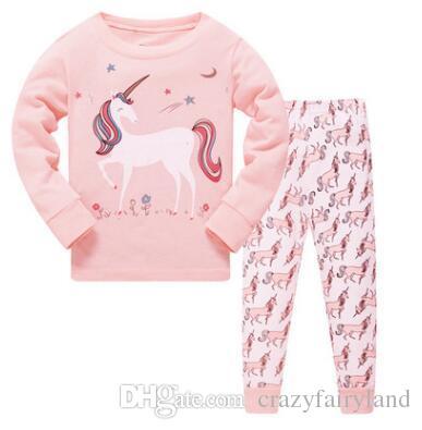 2f218766bdc26 Acheter Garçons Filles De Noël Pyjamas Enfants À Manches Longues 100% Coton  2 Pièces Ensemble Pyjamas De Bébé Bébé Filles Dessin Animé Flamingo  Dinosaur ...