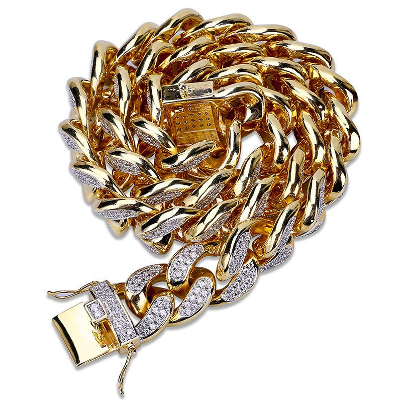 Gold Plated Hiphop Jewelry Cuban Necklaces For Men Cool Miami Hip Hop Gold Chain Men's Luxury Necklace