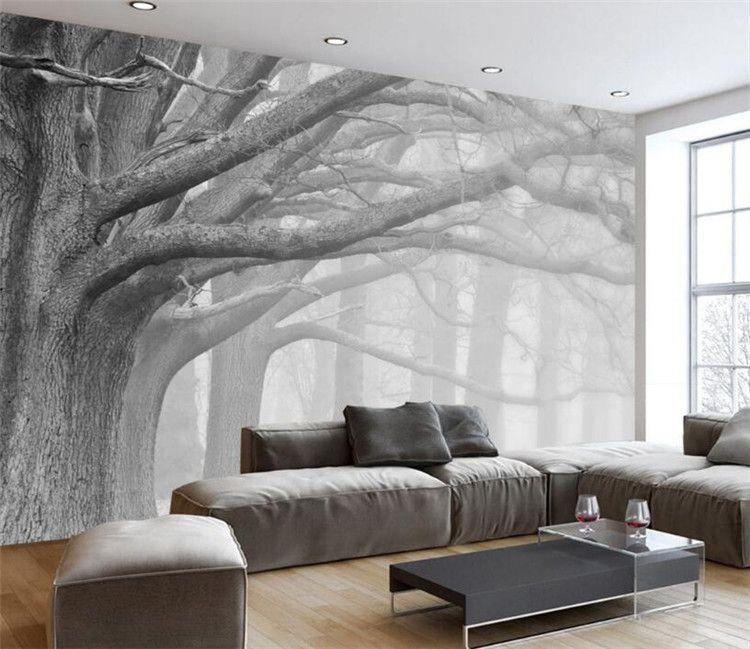 Großhandel 3D Wallpaper Wohnzimmer Schlafzimmer Wandbilder Moderne Schwarz  Weiß Wald Baum Kunst TV Wandbilder Tapete Für Wände 3 D Von Xunxun66, $18.1  ...