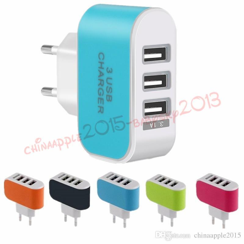 США ЕС Plug 3 USB-порта зарядное устройство стены 5V 3.1 A LED адаптер путешествия удобный адаптер питания с тройными портами USB для iphone 5 6 7 для samsung