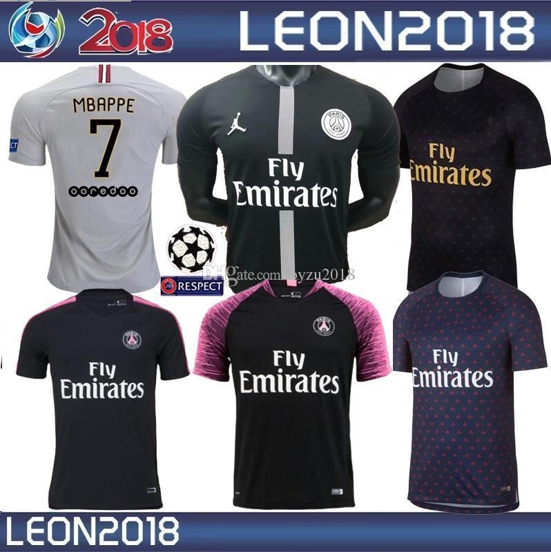 c1d3a368e 2018 2019 Psg Jersey 18 19 Champions League Mbappe Cavani Verratti