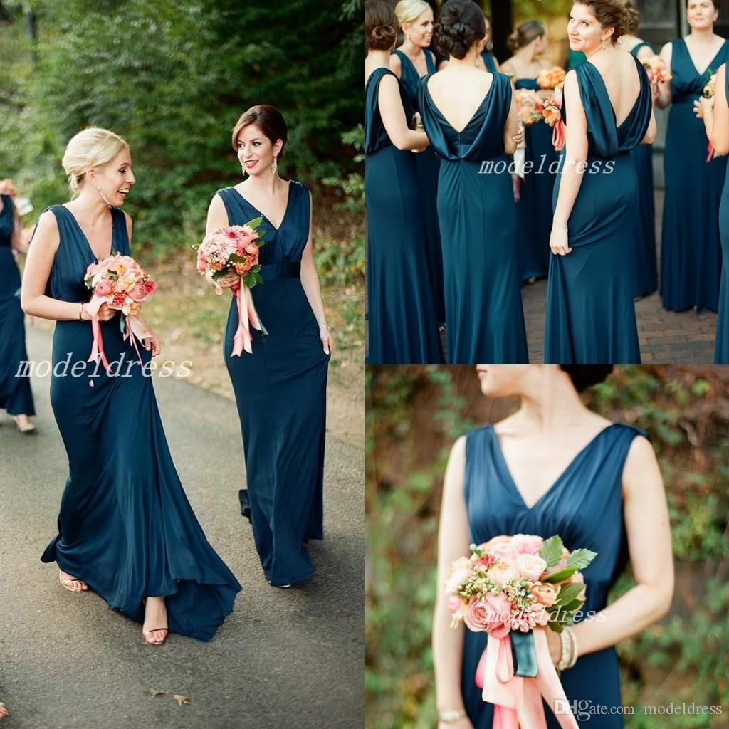 d018cfdf9c6d Elegant Dark Blue Bridesmaid Dresses Draped Back V Neck Sweep Train Long Garden  Country Beach Wedding Guest Gowns Maid Of Honor Dress 2019 Long Bridesmaid  ...