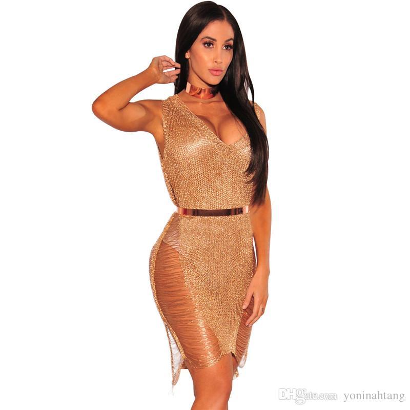 Atacado Frete Grátis Nova malha de bandagem de moda ver através de v-pescoço sexy casual night club vestido de praia