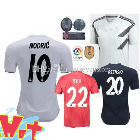 release date 3a4d3 20495 2018 2019 real madrid Soccer Jerseys football shirt Modric Kroos Bale  Marcelo Champions League patches Real Madrid home away third shirts