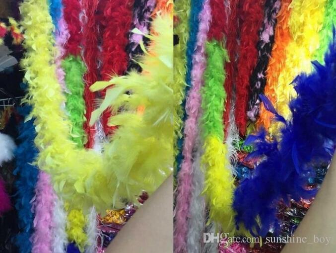 Boa de plumas 200 cm burlesque showgirl gallina noche disfraz fiesta de baile traje accesorio de la boda decoración de bricolaje