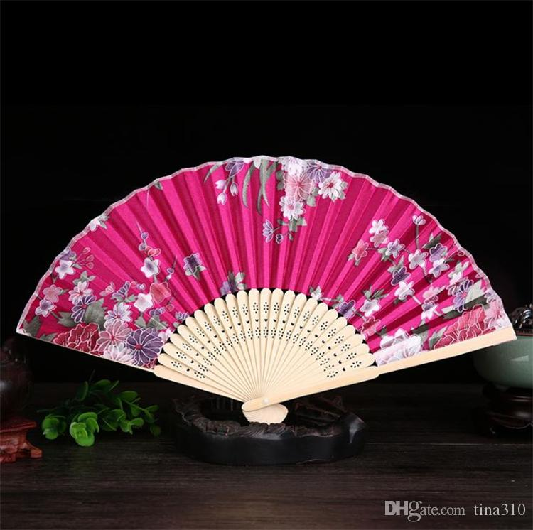 Bamboo crafts Chinese bone wind female fan fan with Japanese style and vintage silk fan color T4H0231