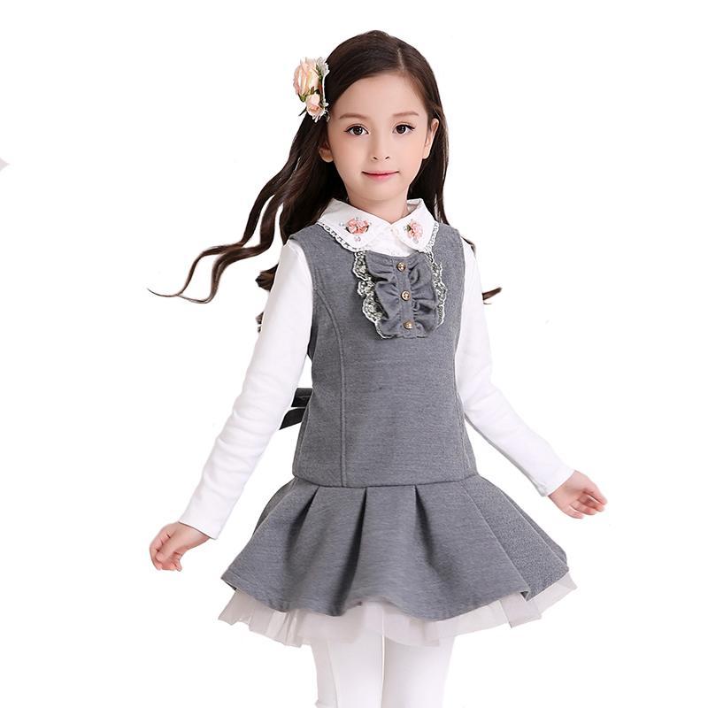 781868138 Vestido de las niñas Ropa de la escuela de los niños del invierno Chaleco  de los niños Drapeado Silm Una línea Estilo de muy buen gusto para la ...