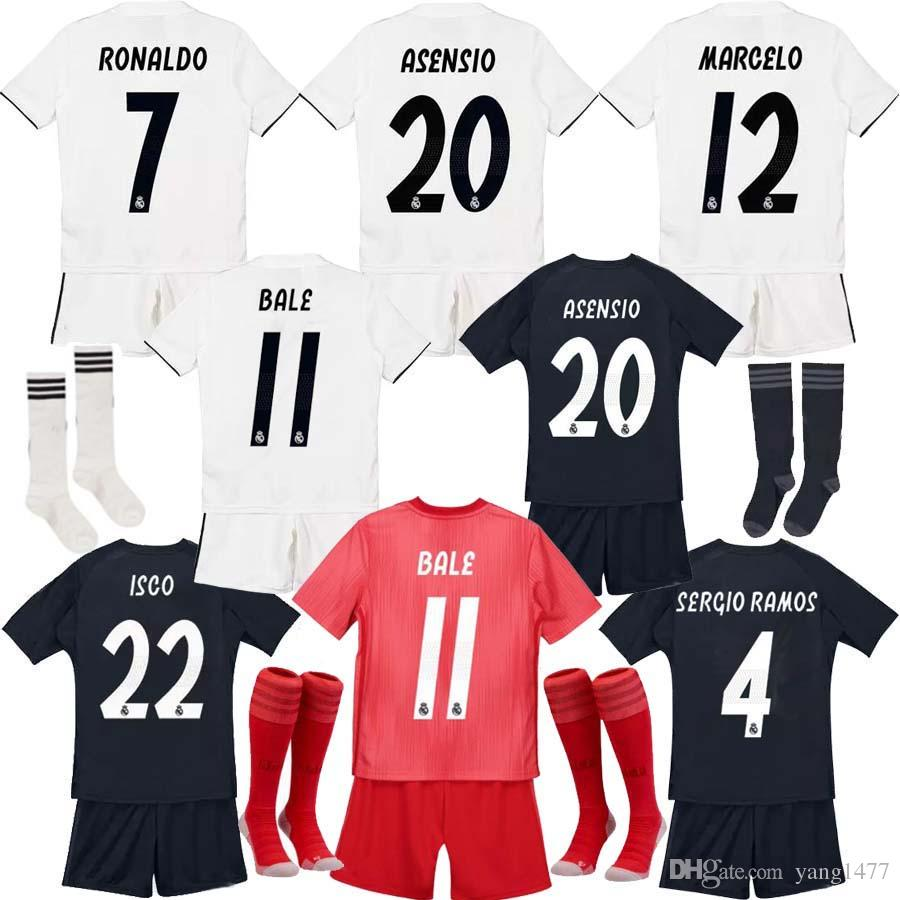 684588ac444 2019 18 19 Real Madrid Soccer Jersey 2018 Real Madrid Kids+Socks Ronaldo  Modric Kroos Sergio Ramos Bale Real Madrid Home Away ASENSIO ISCO Jersey  From ...