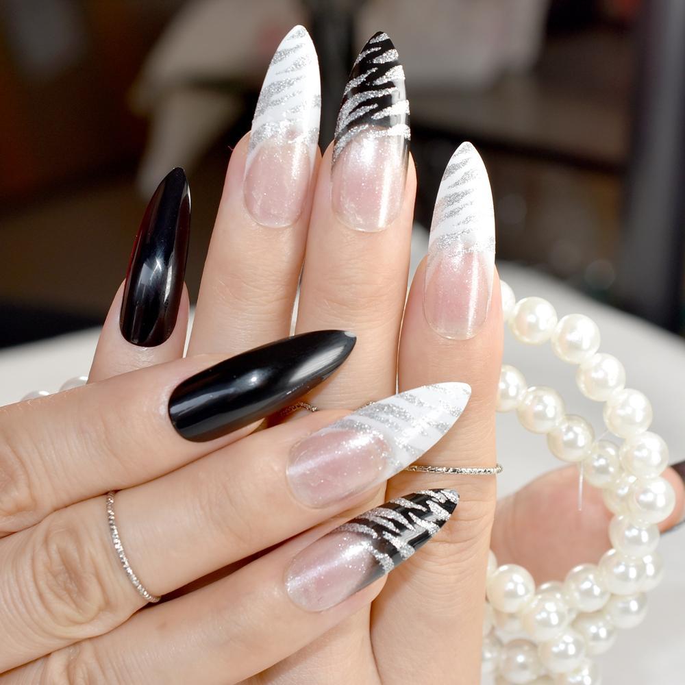 Extra Long Pointed Pre Designed Nails Black White Zebra Bent Press