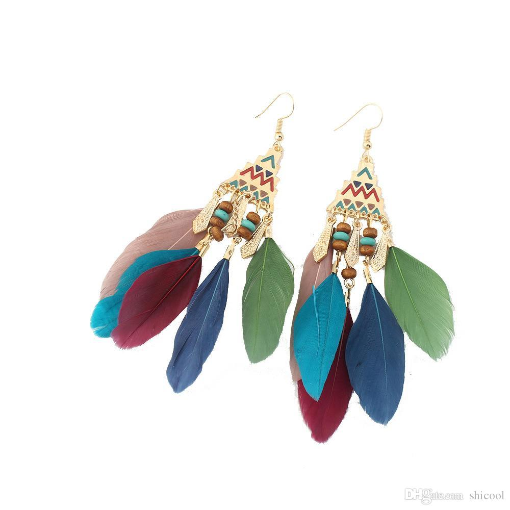 3bbc5be64 2019 Vintage Long Feather Earrings For Women Tassel Earrings Fashion Leaf  Feather Earring Long Drop Dangle Earrings From Shicool, $1.24 | DHgate.Com