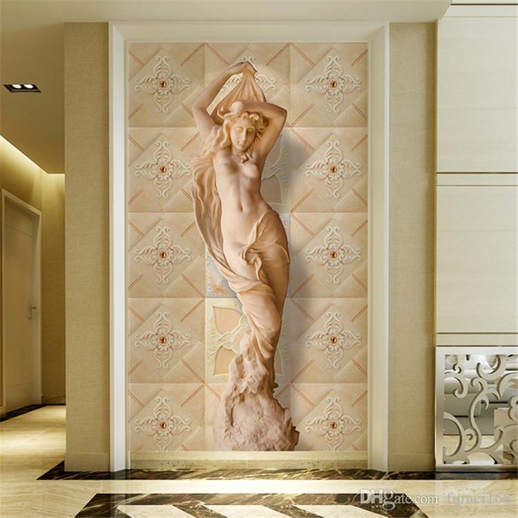 Padrão costume Mural Wallpaper Flower Europeia 3D estereoscópico Body Art Mural Sala Quarto Entrada Corredor Wallpaper
