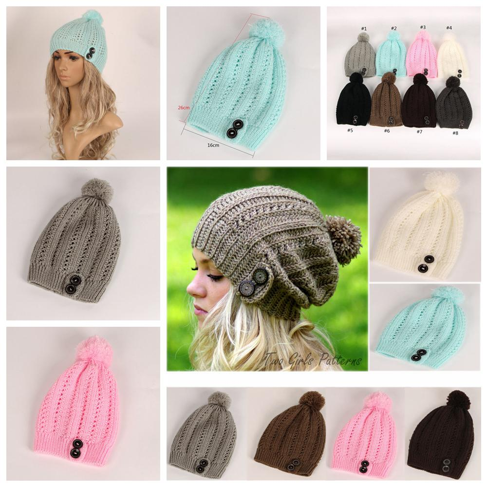 9e031041e 8styles Winter Pompom Ball Button Beanies Hats Knitted Hat Fashion Wool  Hats Women Winter Warm Caps fashion outdoor sport Lady cap FFA1281