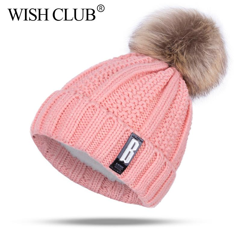 ff3970674 Fashion Cotton Knitted Pom Poms Hat For Girls Women Letter Winter Hat  Casaual Skullies Beanies Female Caps Outdoor Sport Hats S1020