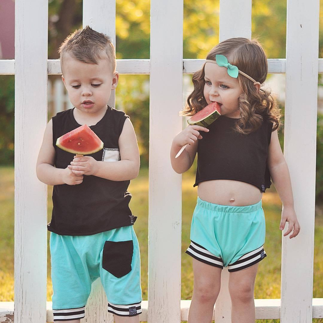 c4a84909bedf 2019 Newborn Baby Boys Girls Summer Clothing Set Brother Sister Matching  Outfit Infant Sleeveless Tops T Shirt Pants Outfits From Xunqian, $30.6 |  DHgate.